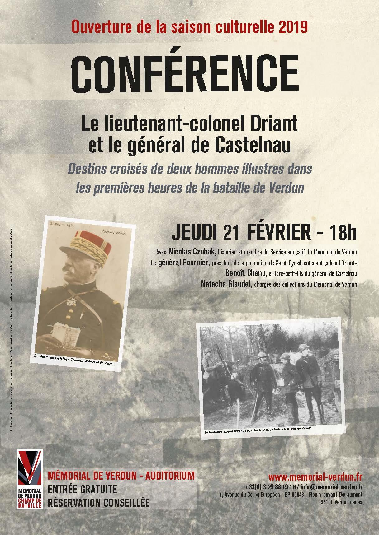 CONFÉRENCE : LE LIEUTENANT-COLONEL DRIANT ET LE GÉNÉRAL DE CASTELNAU