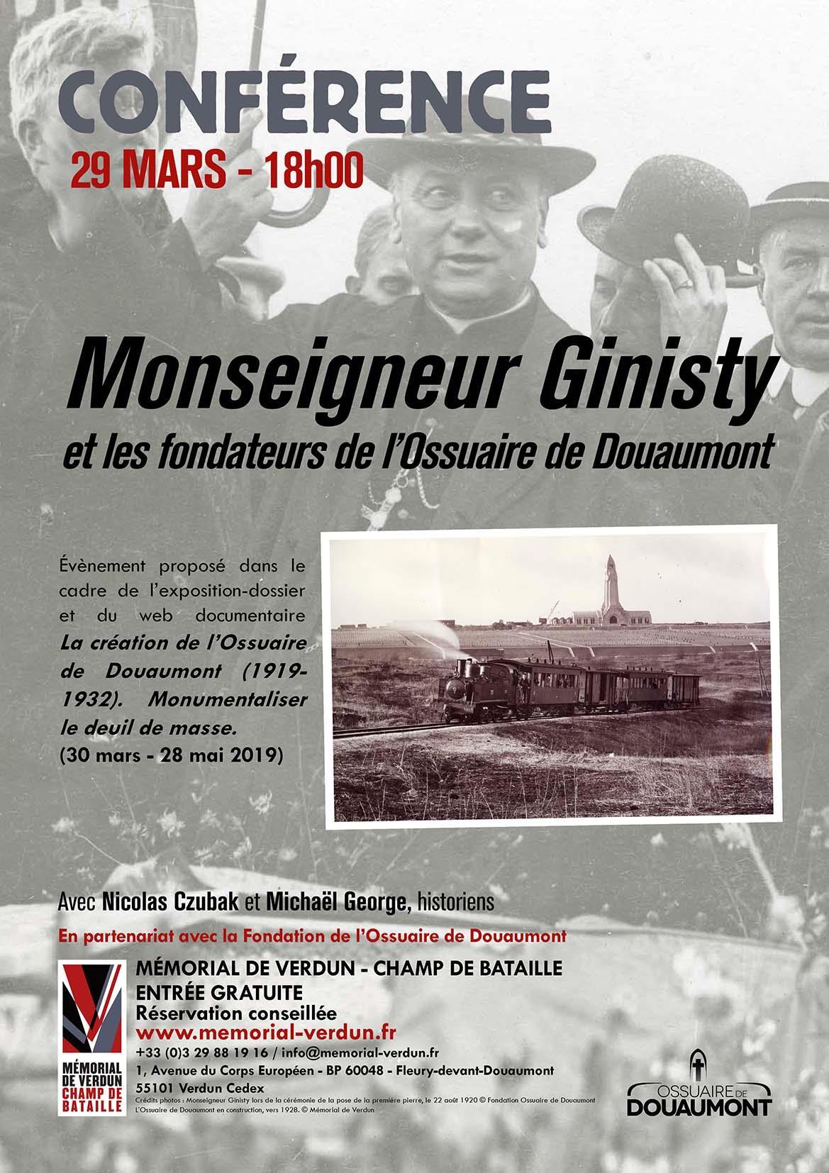 CONFÉRENCE  MONSEIGNEUR GINISTY ET LES FONDATEURS DE L'OSSUAIRE DE DOUAUMONT