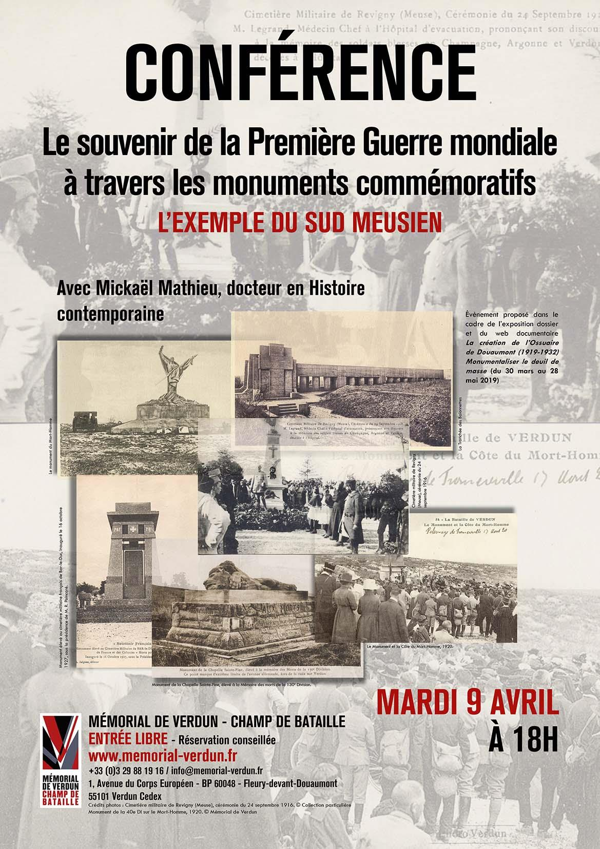 CONFÉRENCE | LE SOUVENIR DE LA PREMIÈRE GUERRE MONDIALE À TRAVERS LES MONUMENTS COMMÉMORATIFS : L'EXEMPLE DU SUD MEUSIEN