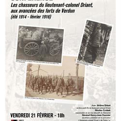 CONFÉRENCE | LES CHASSEURS DU LIEUTENANT-COLONEL DRIANT, AUX AVANCÉES DES FORTS DE VERDUN (ÉTÉ 1914 - FÉVRIER 1916)